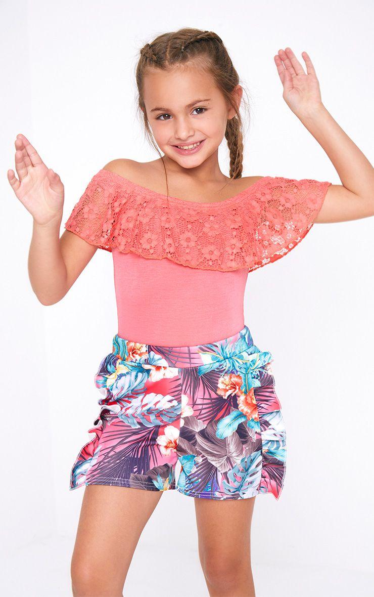 Lace Frill Bardot Pink Bodysuit