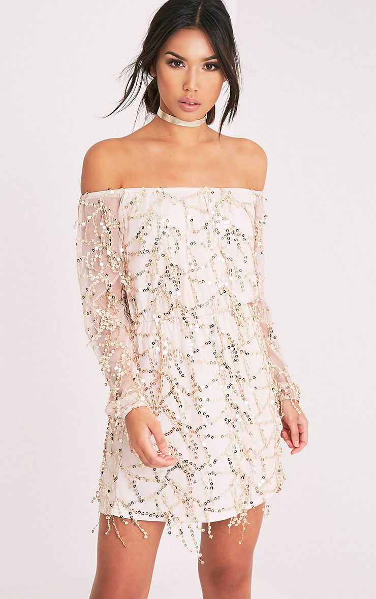 Suki Nude Sequin Detail Bardot Dress