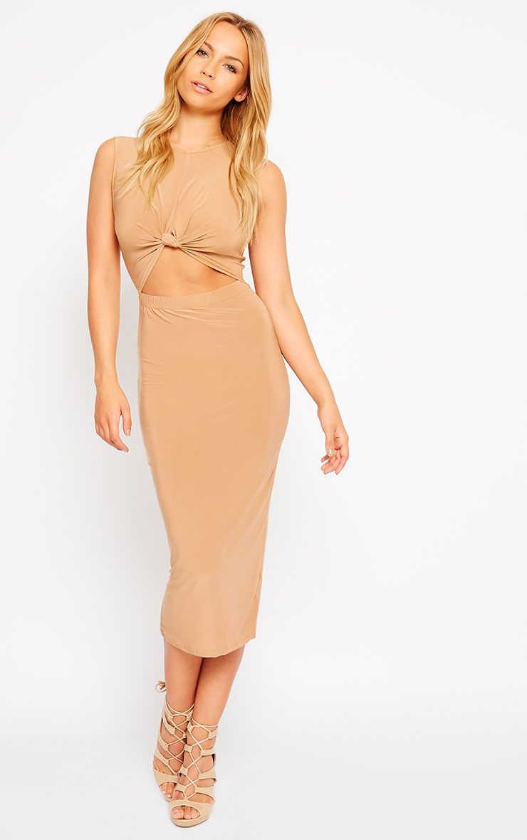 Zafia Camel Sleeveless Midi Dress 1