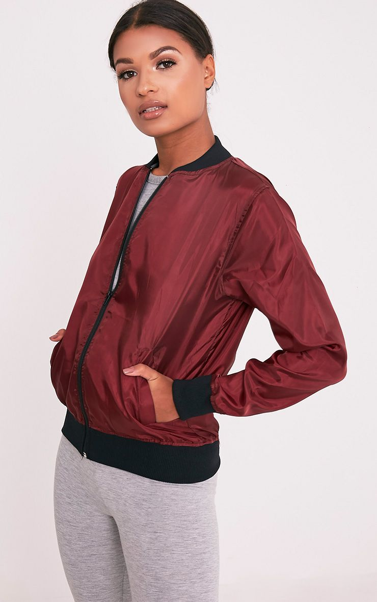Ainnie Burgundy Lightweight Bomber Jacket