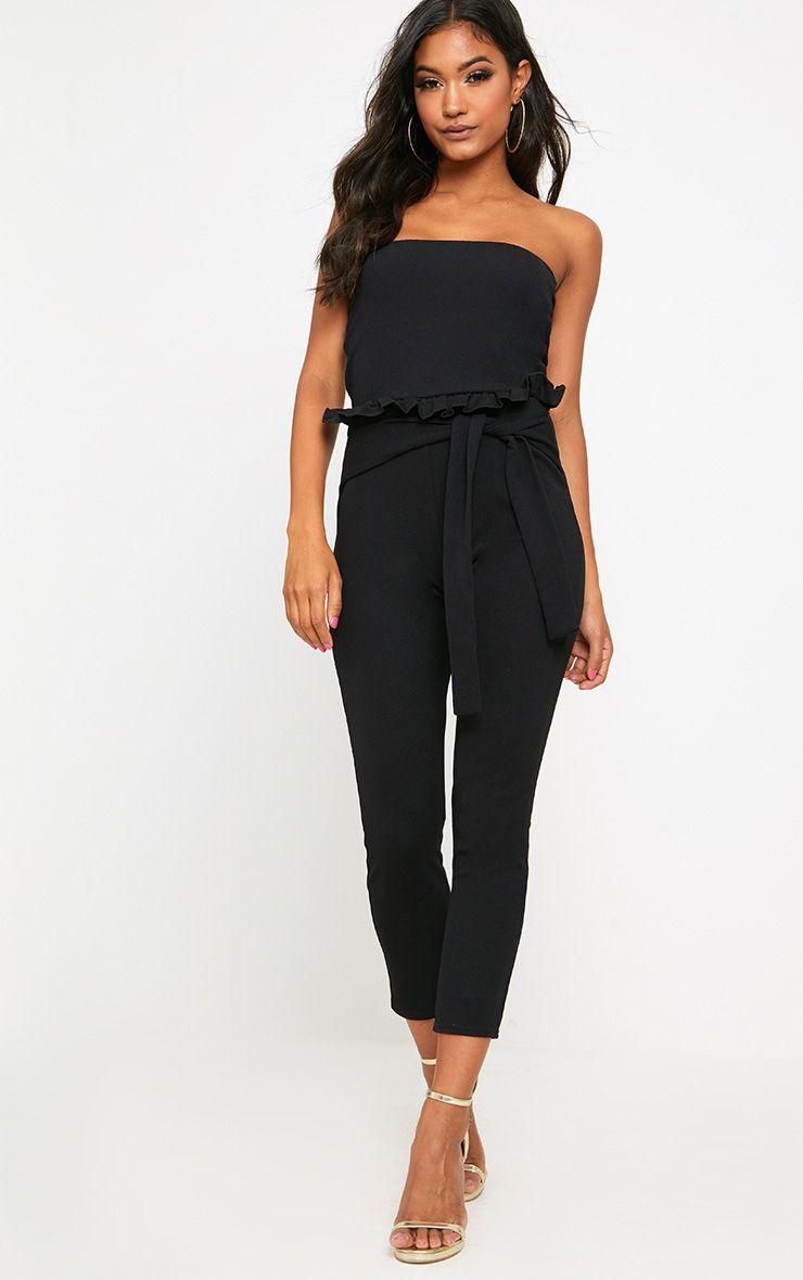 Black Frill Tie Waist Jumpsuit