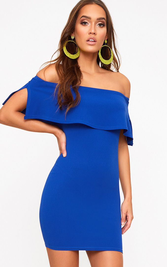 Cobalt Bardot Frill Bodycon Dress