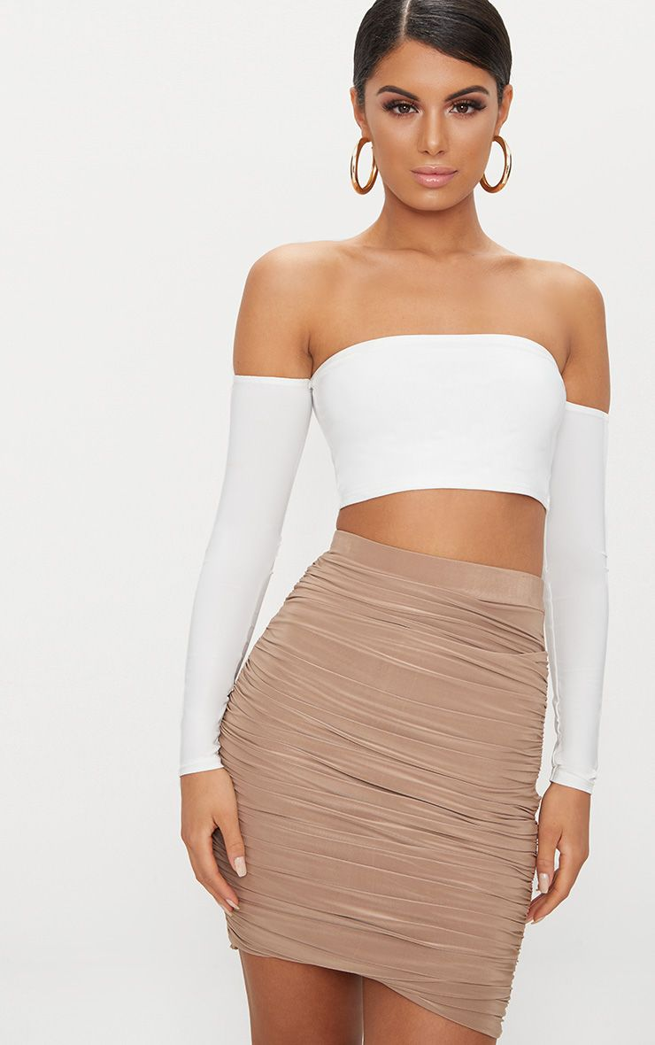 White Slinky Bardot Long Sleeve Crop Top