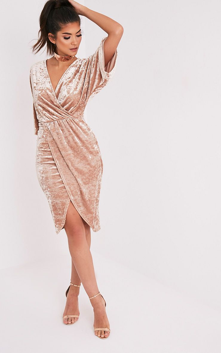 Archer Champagne Velvet Cape Midi Dress