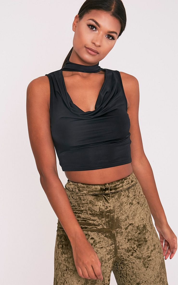 Vida Black Slinky Cowl Neck Crop Top 1