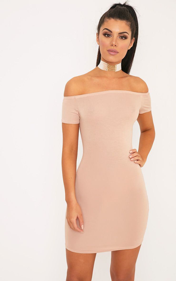 Basic Nude Curve Hem Bardot Bodycon Dress