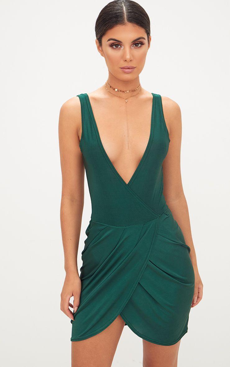 Emerald Green Plunge Slinky Wrap Bodycon Dress