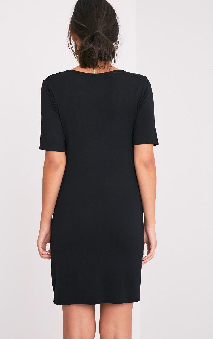Basic Black Plunge V Neck T Shirt Dress Dresses
