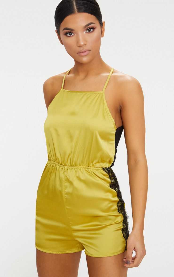 Dark Lime Satin Lace Back Playsuit