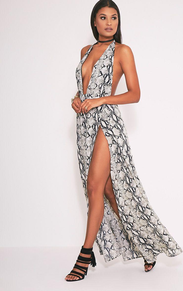 Alina Nude Snake Print Plunge Maxi Dress