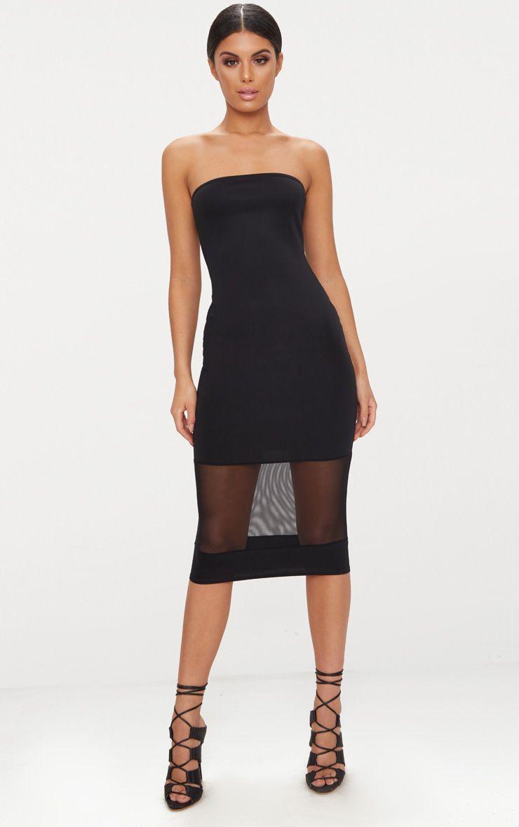Black Bandeau Mesh Panel Midi Dress Pretty Little Thing DApZeBsm