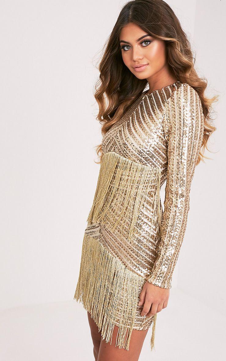 lorannia gold premium sequin fringed bodycon dress