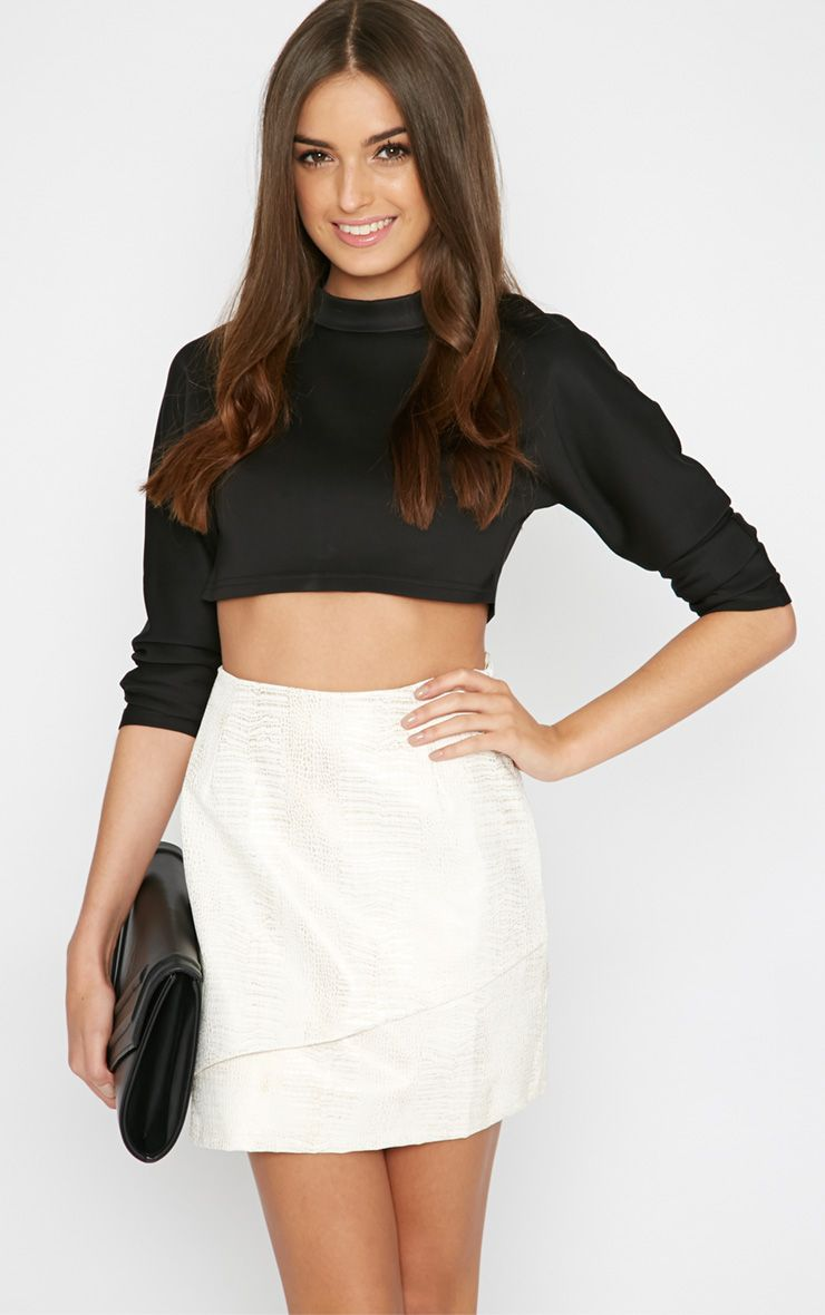 Camryn Cream Snakeskin Leather Skirt  1