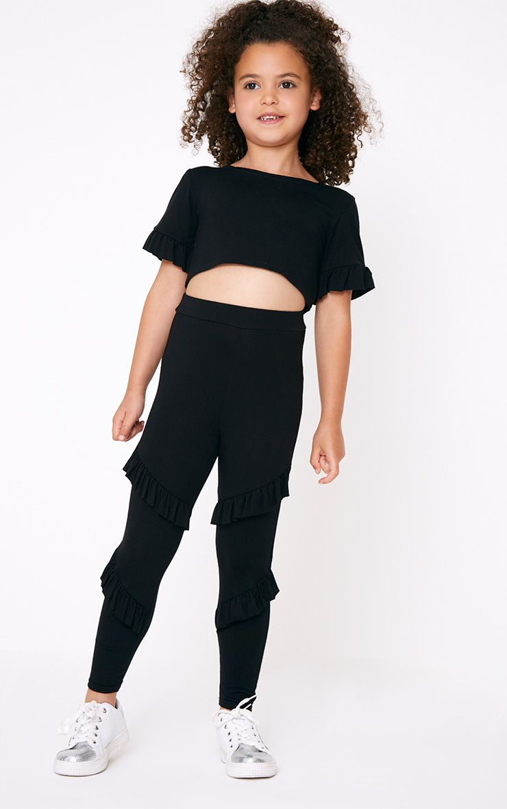 Ruffle Detail Black Leggings