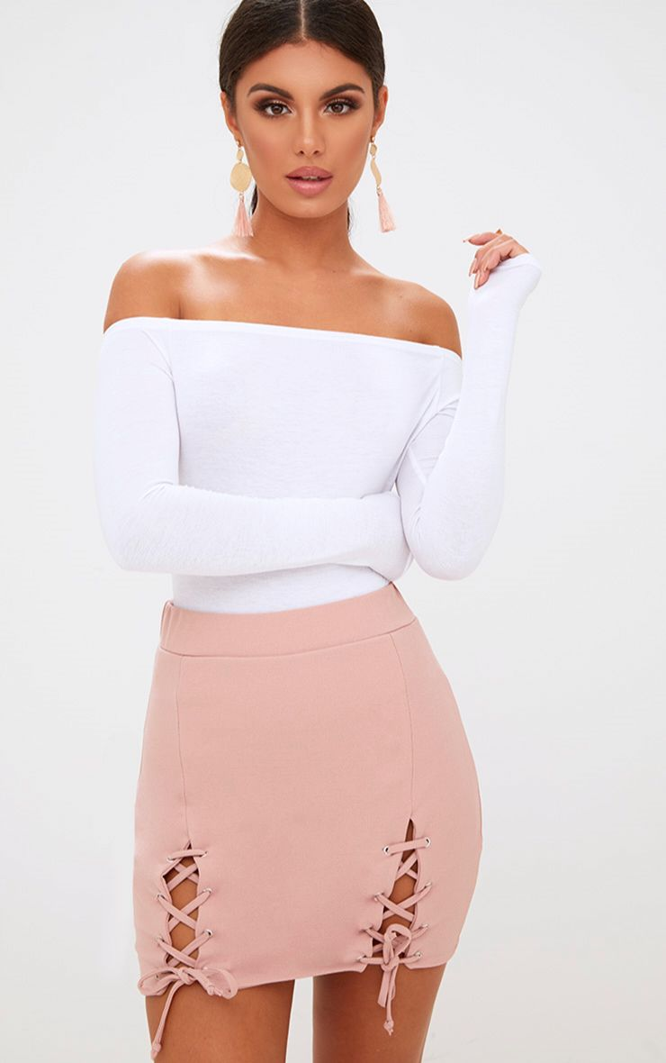 Pink Double Split Lace Up Mini Skirt