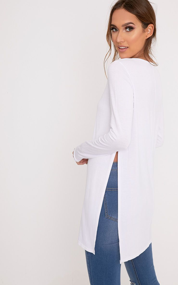 Basic White Long Sleeve Side Split Top