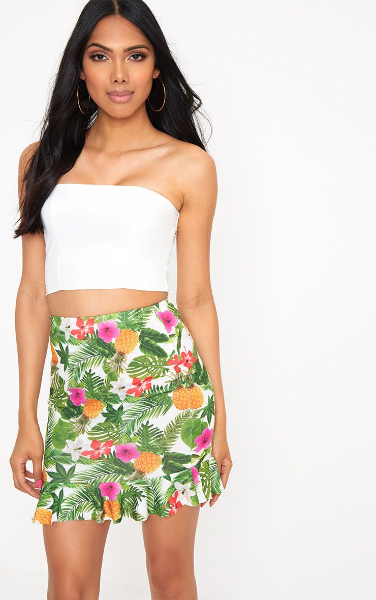 White Tropical Print frill Hem Mini Skirt