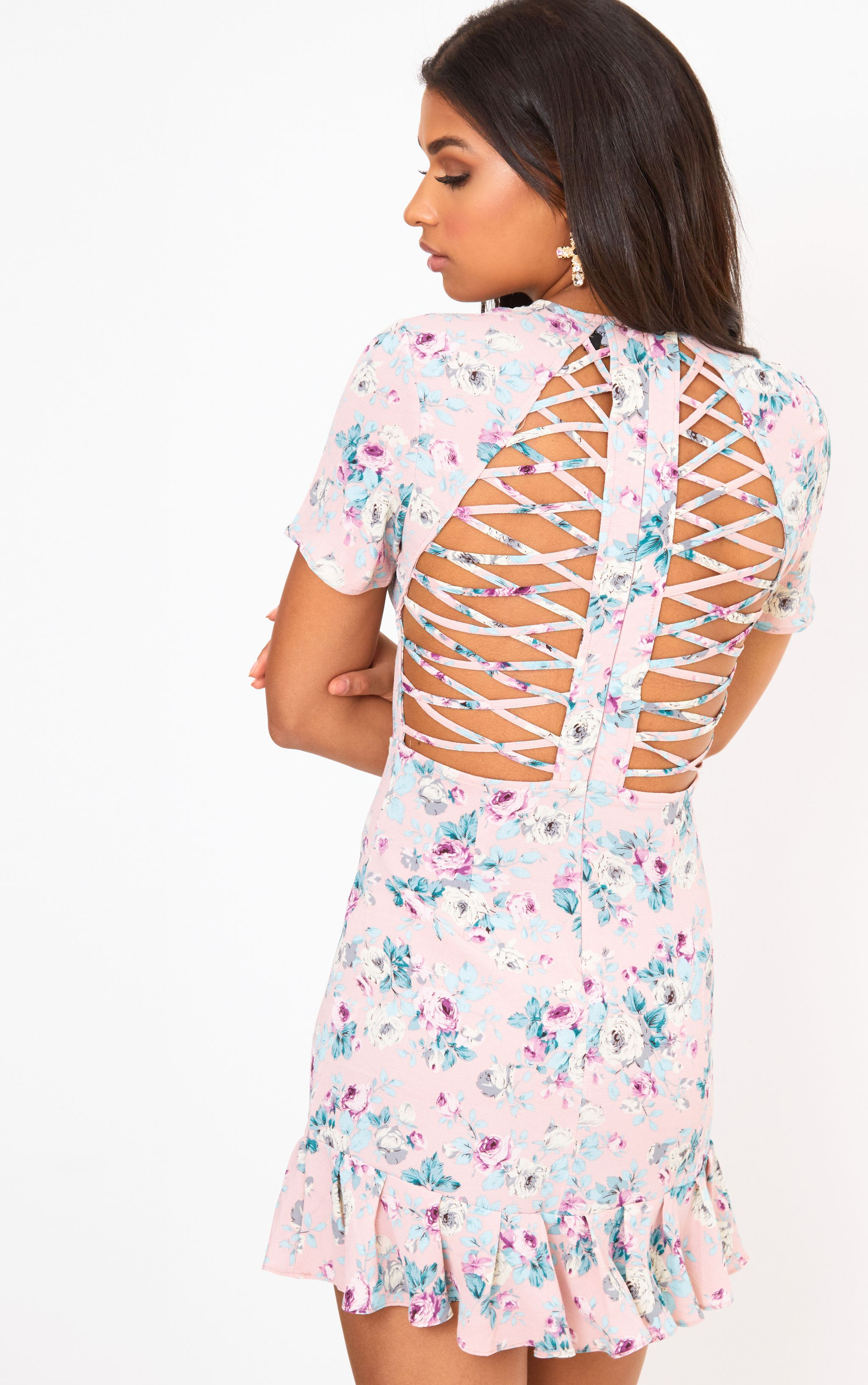 Lilac Frill Hem Lattice Back Bodycon Dress