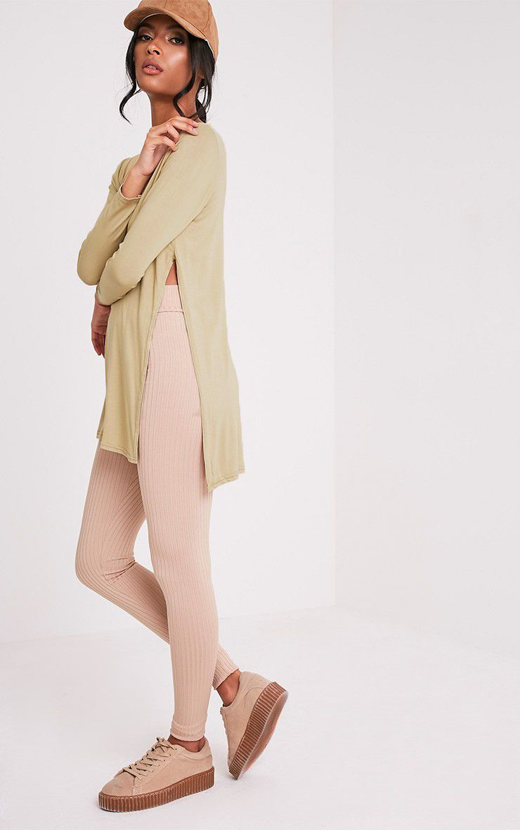 Basic Pale Khaki Longsleeve Side Split Top 5