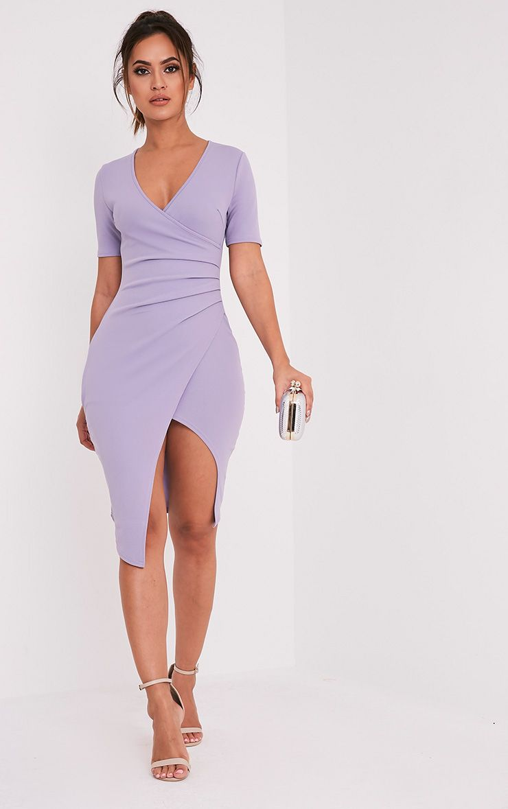 Ivie Lilac Short Sleeve Wrap Front Midi Dress 1