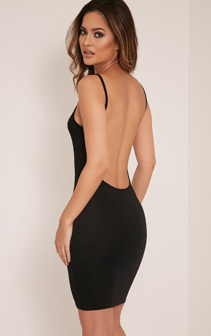 Natallia Black Scoop Back Dress