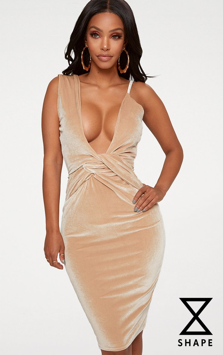 Shape Champagne Velvet Asymmetric Strap Bodycon Dress