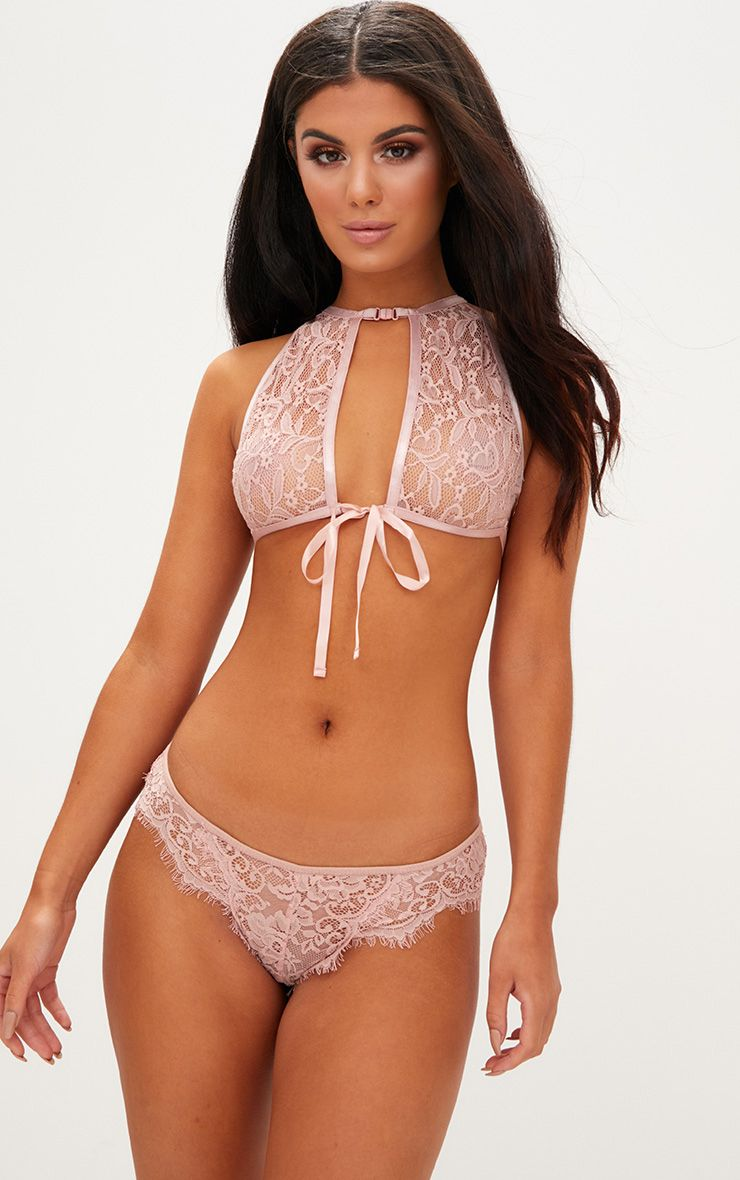 Blush High Neck Lace Bow Tie Bralet
