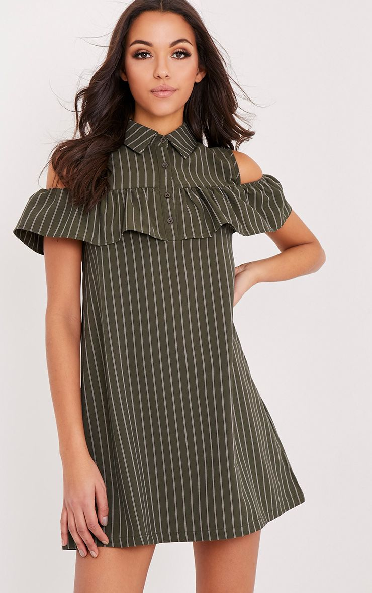 Ashlie Khaki Pin Stripe Cold Shoulder Shirt Dress