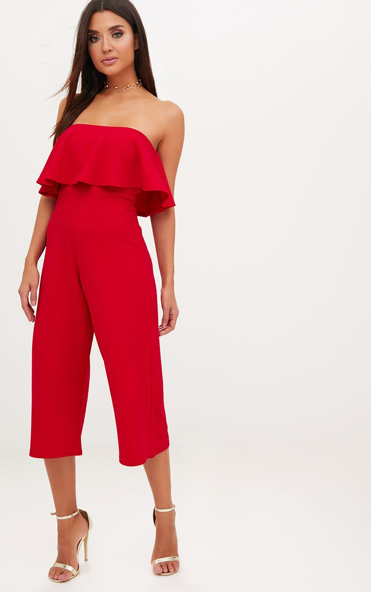 Red Bardot Double Layer Culotte Jumpsuit