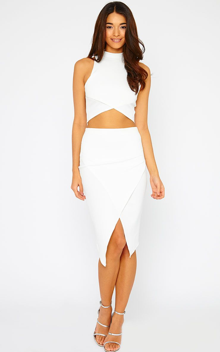 Lia Cream Wrap Midi Skirt 1