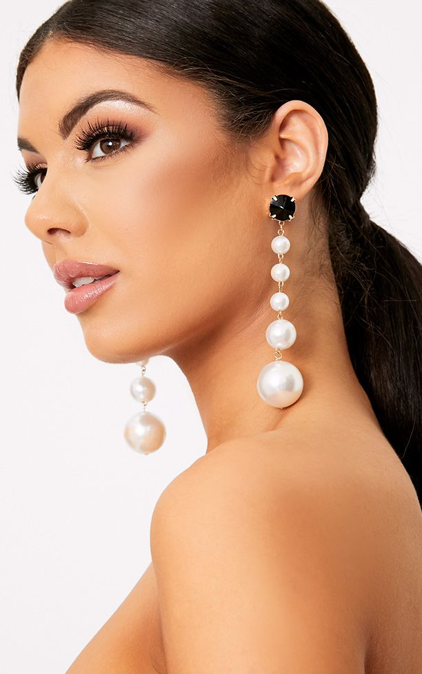 Halie Long Pearl Drop Earrings