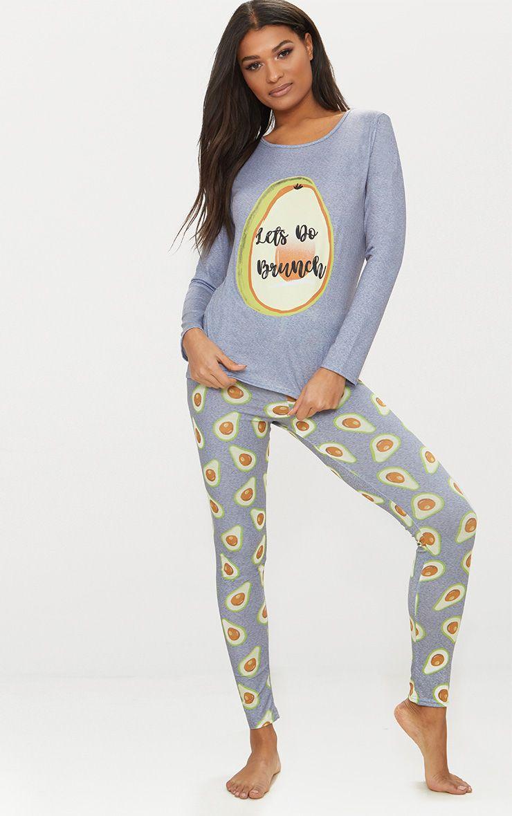 Grey Long Sleeve Avocado Print Legging PJ Set