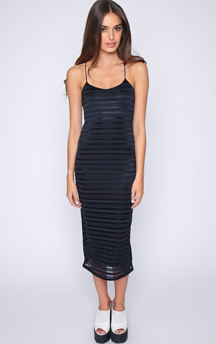 Coco Black Stripe Midi Dress 1