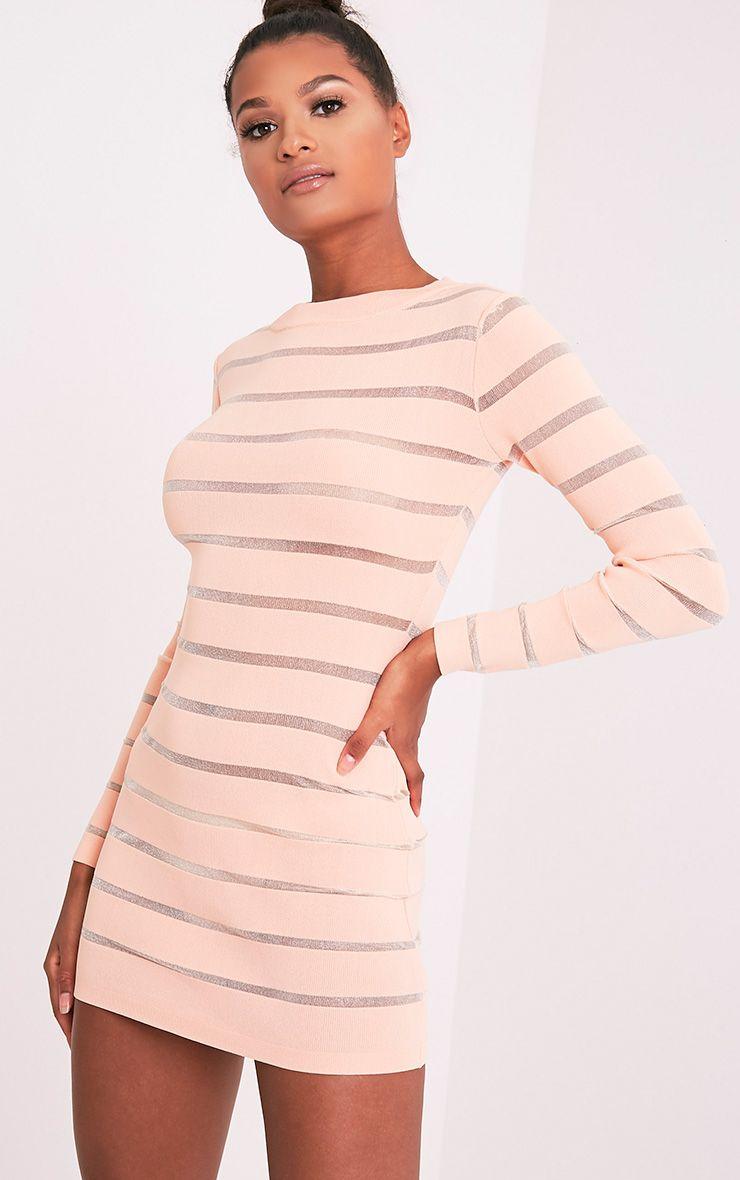 Jamesina robe mini tricotée chair à empiècements en tulle 4