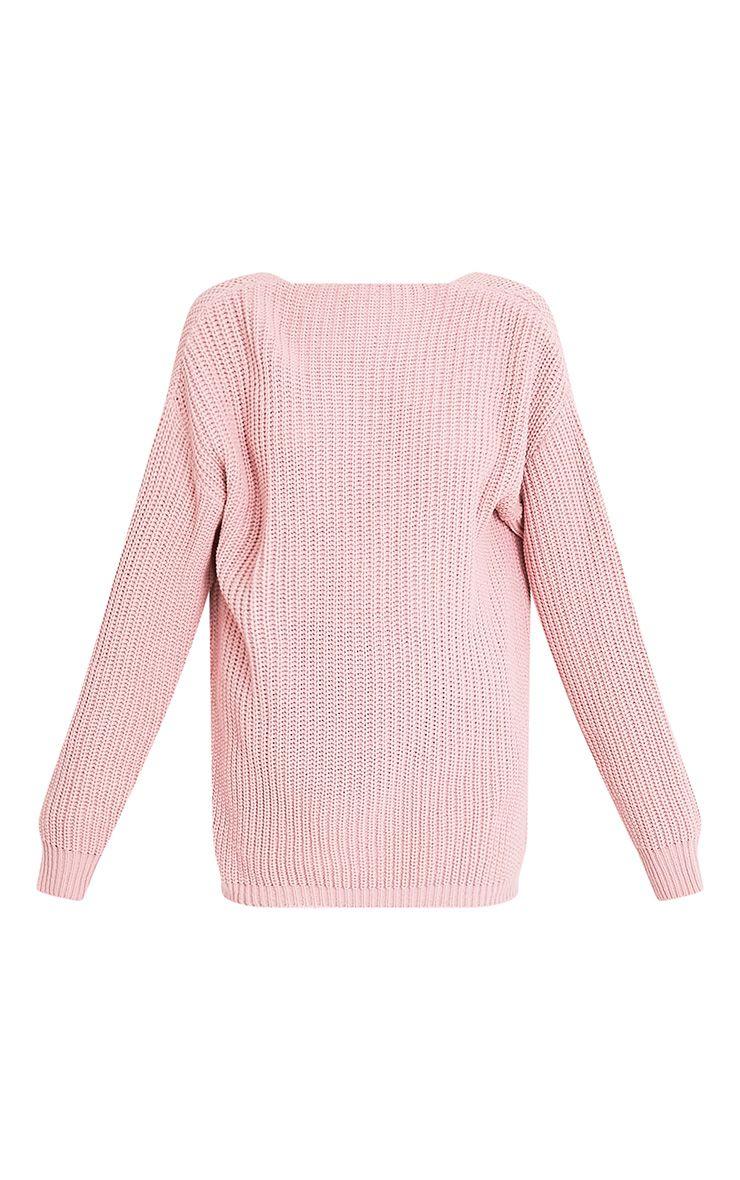 Flossie pull à dos en V tricoté style pêcheur rose pâle 3
