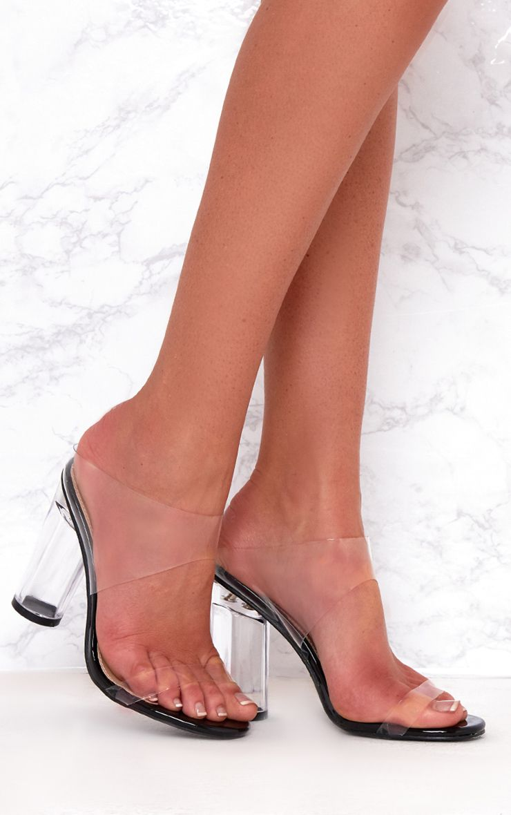 Black Clear Heeled Mules