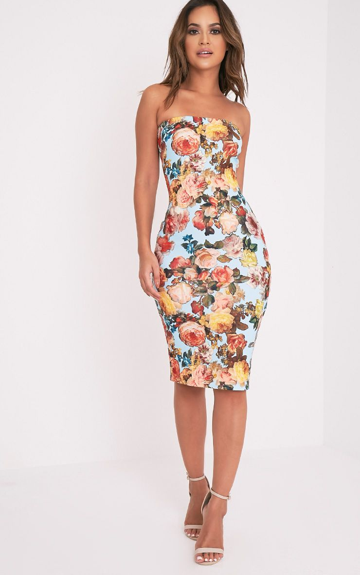 Jasmea Blue Floral Bandeau Midi Dress