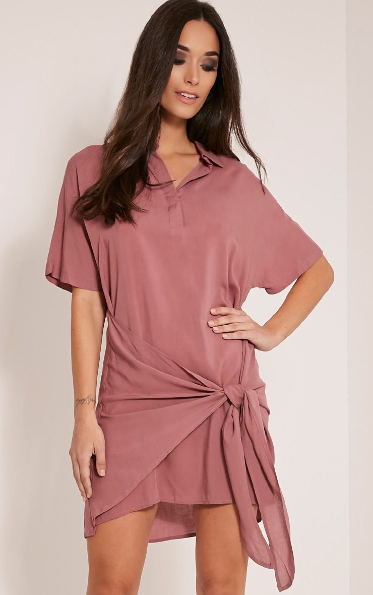 Chessca Rose Tie Front Shirt Dress Pink