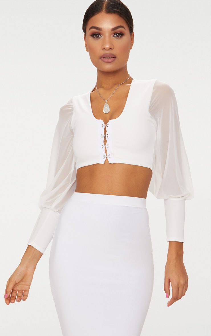 Cream Hook And Eye Mesh Sleeve Crop Top