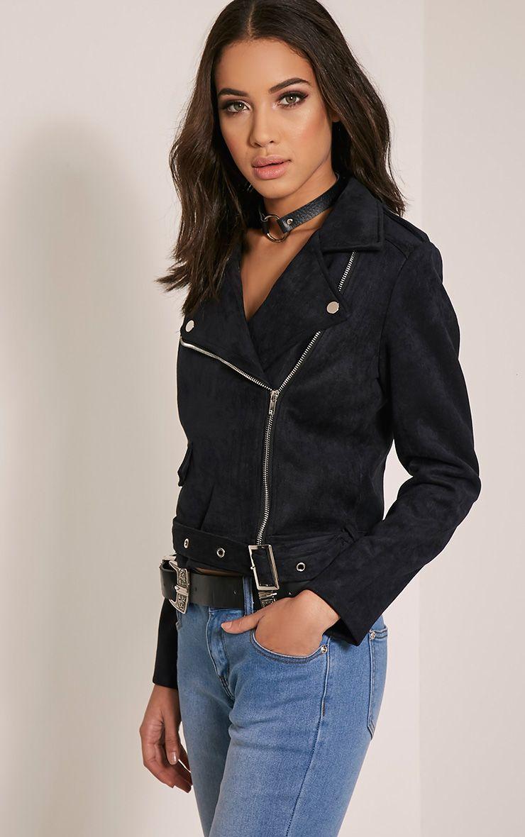 Sabella Black Faux Suede Biker Jacket
