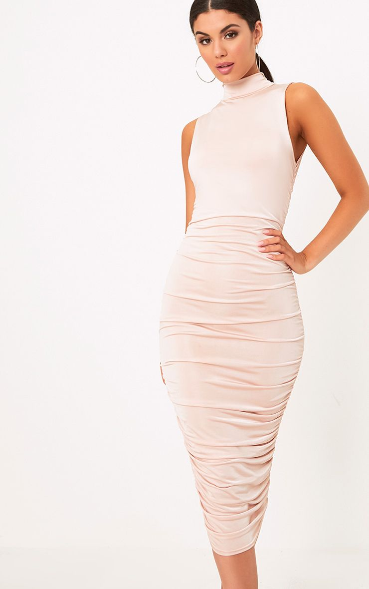 Nude Sleeveless Ruched Detail Midi Dresses