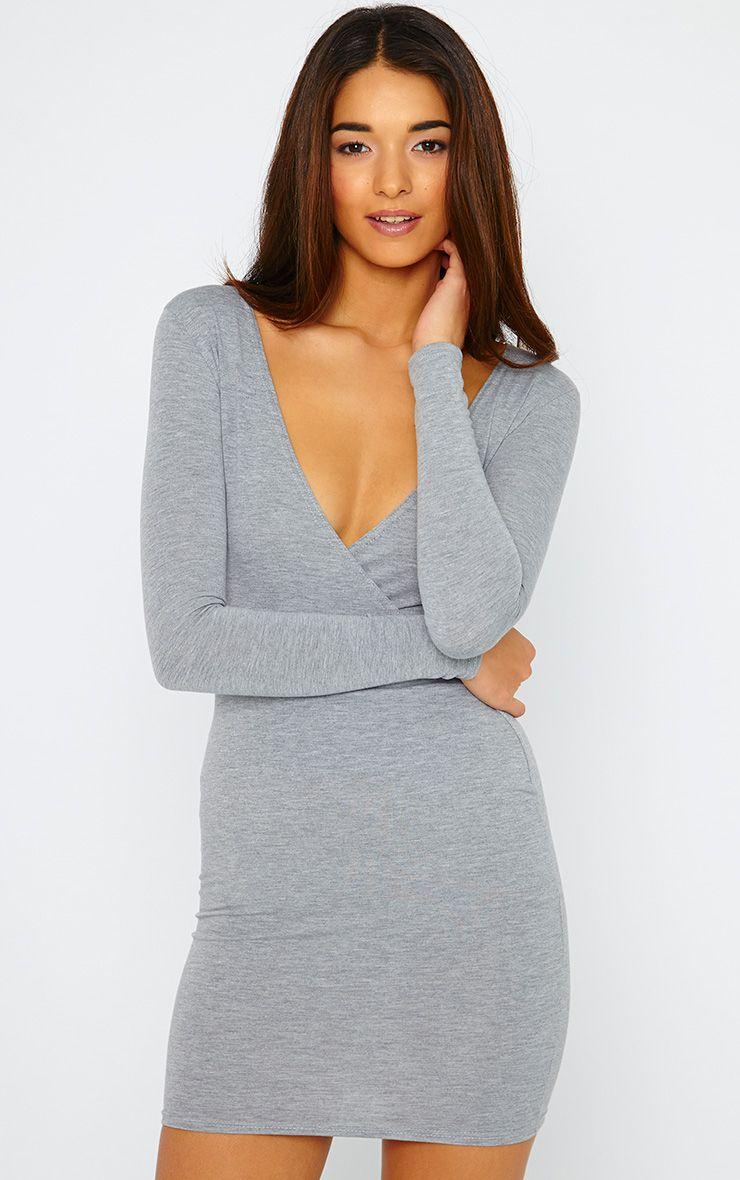 Basic Grey Wrap Dress 1