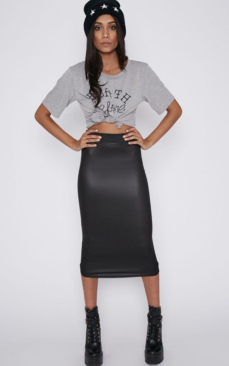 Annika Black Wet Look Midi Skirt  1