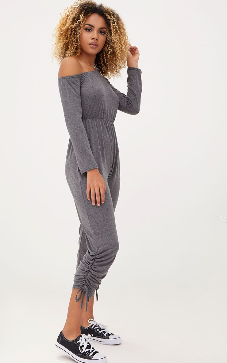 Charcoal Jersey Ruched Leg Jumpsuit