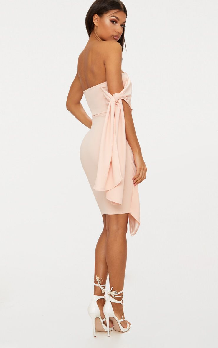 Nude Tie Detail Wrap Front Bandeau Midi Dress Pretty Little Thing n6juZsa89