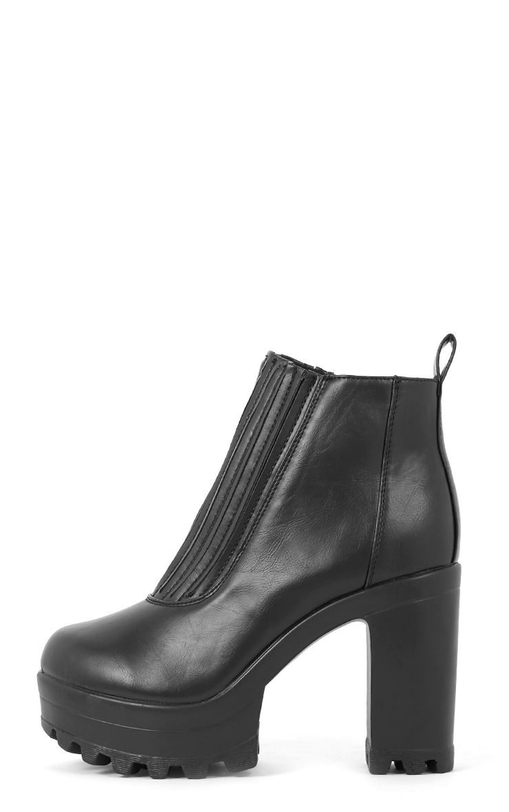 Kateri Black Pleated Front Cleated Boot  1