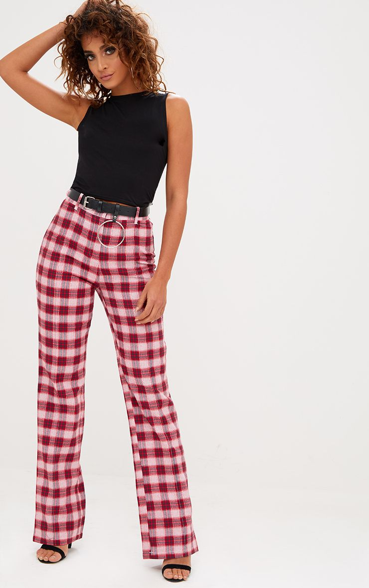 Red Check High Waisted Trousers