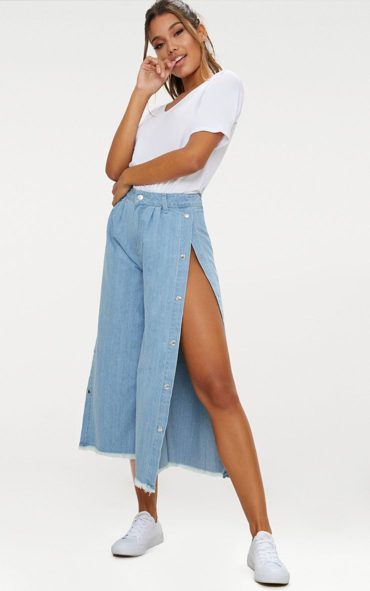 Light Wash Popper Side Wide Leg Denim Culottes