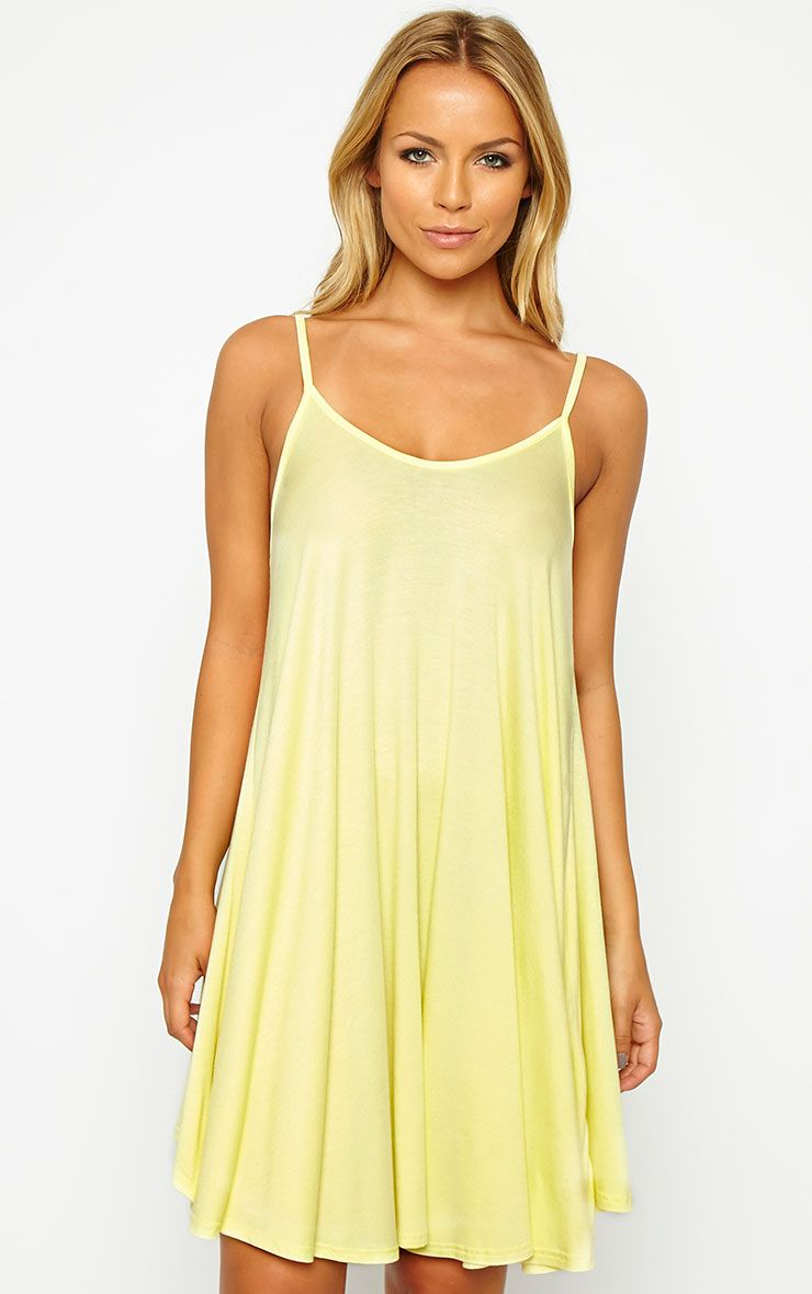 Basic Lemon Strappy Jersey Swing Dress 1