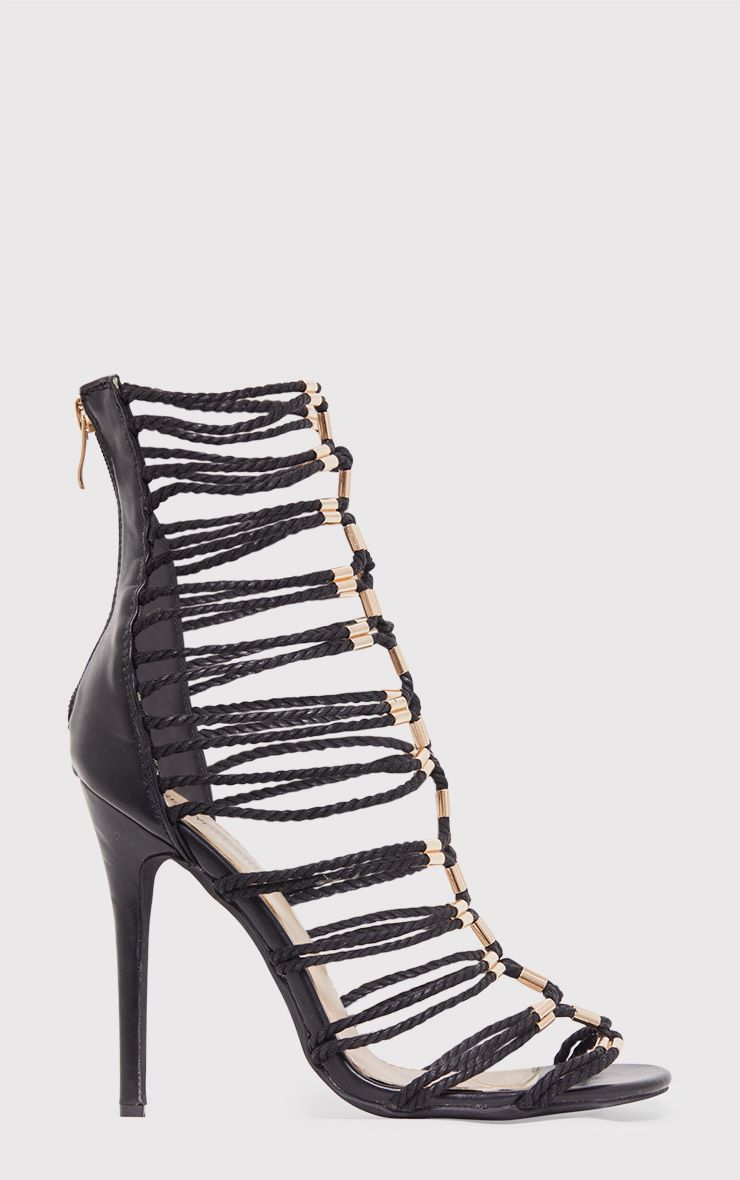 Fern Black Rope Detail Gladiator Heels